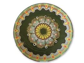 Тъмно зелена чиния с троянска шарка 20 23 см