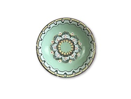Светло зелена чиния с троянска шарка 17 см