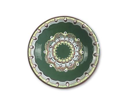 Тъмно зелена чиния с троянска шарка 17 18 см