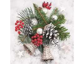 Коледни салфетки с клонки подходящи и за декупаж