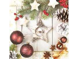 Коледни салфетки със звезда подходящи и за декупаж