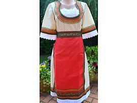 Женска носия бяла с червена престилка