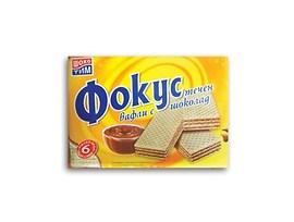 Обикновени вафли Фокус течен шоколад 6бр 148 гр