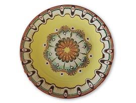 Жълта чиния с троянска шарка 20 23 см