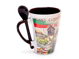 Чаша за чай България с пейзажи лъжичка