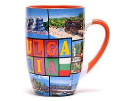 Чаша за чай България с пейзажи и шарен надпис