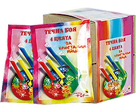 Пет Течна боя 4 цвята за кристални яйца 10 г
