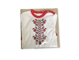Бебешко боди бяло и червено български мотив